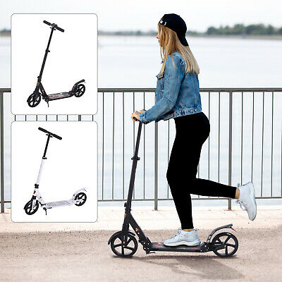 Folding Kick Scooter 2 Big Wheels Teens Adult Adjustable Height • 65.99£