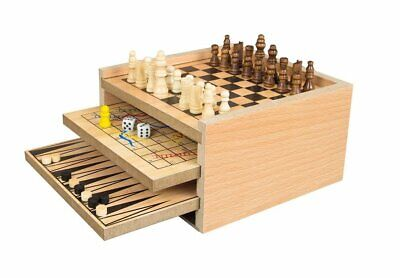Deluxe Classic Wooden 7 In 1 Fun Family Games Set Chess, Draughts, Ludo And More • 11.99£