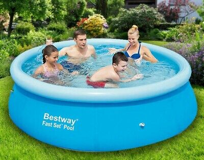 Bestway Large Family Swimming Pool 8ft Garden Inflatable Kids Paddling Pools New • 18.95£