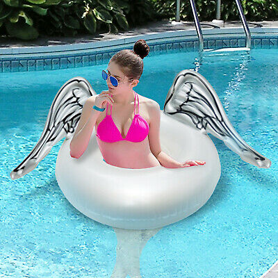Inflatable Angel Wings Swim Water Rings Giant Lilo Lounger Swimming Pool Float • 4.99£