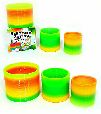 Pack Of 3 Different Sizes Rainbow Magic Neon Spring Slinky Stretchy Coil Toy • 3.99£