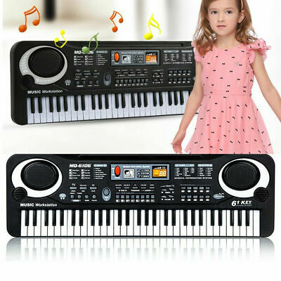 61 Keys Digital Electric Piano Music Electronic Keyboard Organ & Microphone Kids • 9.99£