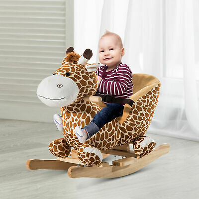 Animal Baby Rocking Horse Children Toy Seat Rocker Giraffe W/ 32 Songs Ride Wood • 58.99£