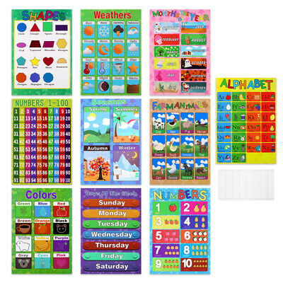 10PCS Toddlers Baby Kids Preschoolers Educational Preschool Posters Charts • 9.39£