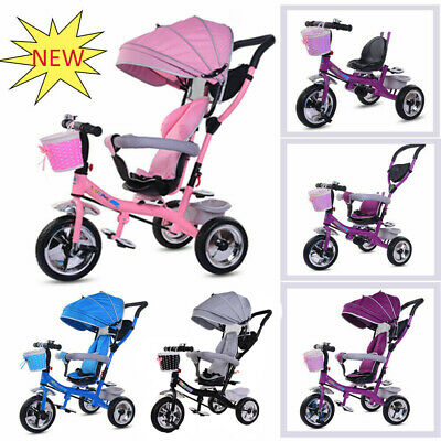 4-in-1 Baby Kids Trike Tricycle Boys & Girls 3 Wheels Buggy Toddlers Ride On Car • 69.99£