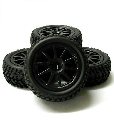 9083 1/10 Scale RC Car Off Road 10 Spoke Wheel And Rally Tread Tyre Black X 4 • 14.24£