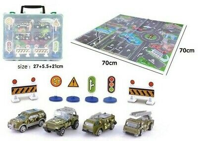 Set Of 4 Diecast Army Car Toys & Map & Road Signs With A Plastic Carry Case Gift • 11.99£