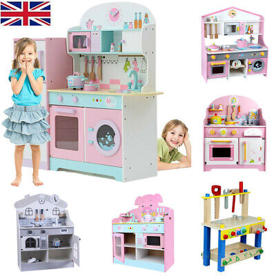 Large Kids Wooden Play Kitchen Children Tool Work Bench Boys Girls Role Play Toy • 49.99£