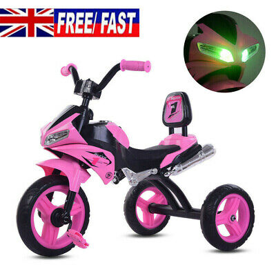 Pink Baby Kids Trike Lights & Music Tricycle Motorcycle 3 Wheels Bike Girls Gift • 34.90£