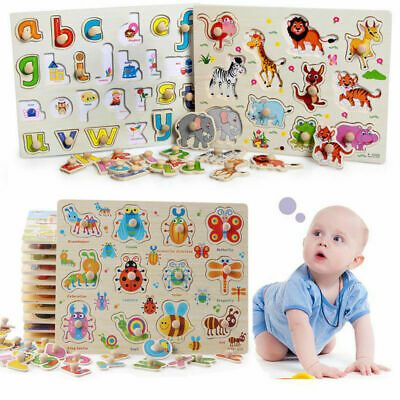 Wooden Puzzle Baby Kids Toddler Jigsaw Alphabet Letters Animal DIY Learning Toys • 3.79£