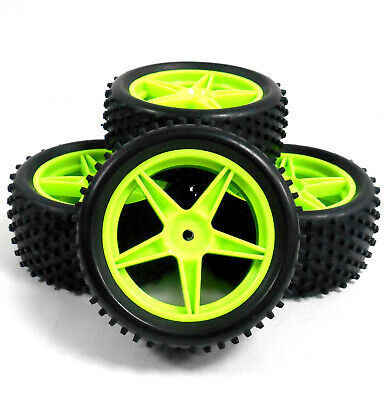 66008/028 1/10 Off Road Front Rear Buggy RC Wheels Pin Tyres 5 Spoke Green X 4 • 16.99£