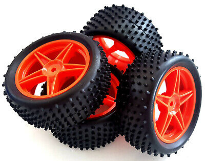 66010/030 1/10 Off Road Front Rear Buggy RC Wheels Pin Tyres 5 Spoke Red X 4 • 16.99£