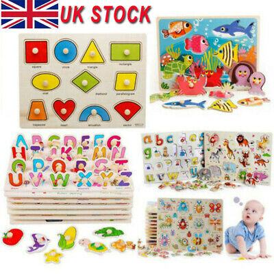 Wooden Puzzle Baby Kids Jigsaw Alphabet Letters Animal Toddler DIY Learning Toys • 4.26£