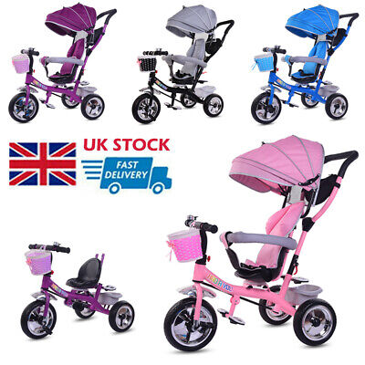 Baby Kids Trike 4 In 1 Pedal Tricycles Toddlers Ride On Buggy Removable Push Bar • 69.99£