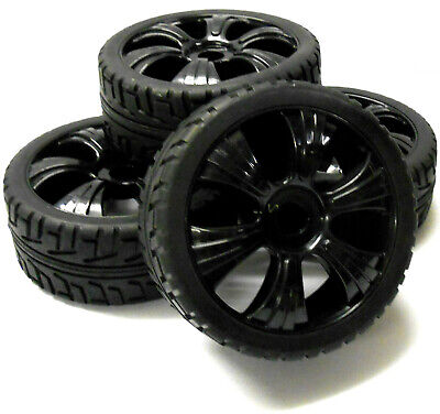 180023 1/8 Scale Buggy RC Wheels And On Road Tread Tyres 6 Spoke Black 4 • 20.99£
