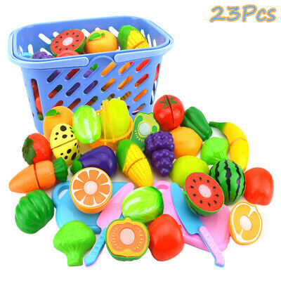 Kids Pretend Role Play Kitchen Fruit Vegetable Food Toy Cutting Set Gift For Kid • 13.93£