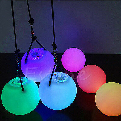 Pro LED Multi-Coloured Glow POI Thrown Balls Light  For Belly Dance Hand Prop • 6.99£