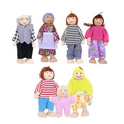 7 People Wooden Furniture Dolls House Family Miniature Kid's Children Toys Gift • 8.29£