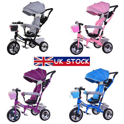 4 In 1 Baby Kids Trike Tricycle Toddlers 3-Wheel Pedal Bike Girls Boys Toy Gifts • 54.99£