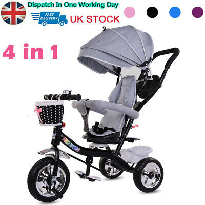 New 4 In 1 Baby Kids Trike Push Along Tricycle 3-Wheel Pedal Bike Girls Boys Toy • 69.99£