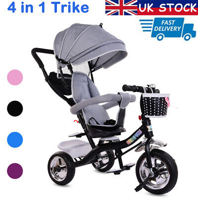 Baby Kids 4 In1 Trike Tricycle 3-Wheel Pedal Bike Girls Boys Push Along Stroller • 59.88£
