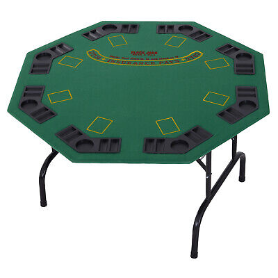 8 Player Folding Games Poker Table W/ Chip Cup Holder Steel Base Casino Green • 64.99£