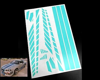 1/10 RC Fast & Furious Skyline Stripe Paint Masking Sheet For Body Shell Stencil • 4.95£
