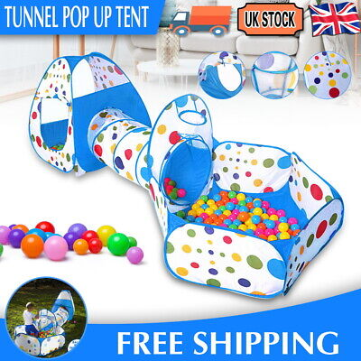 3in1 Portable Children Kids Baby Play Tent Tunnel Ball Pit Playhouse Pop Up Tent • 19.79£