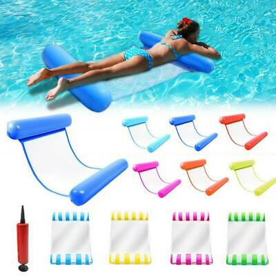 UK Inflatable Floating Water Hammock Float Pool Lounge Bed Swimming Chair +Pump • 7.59£