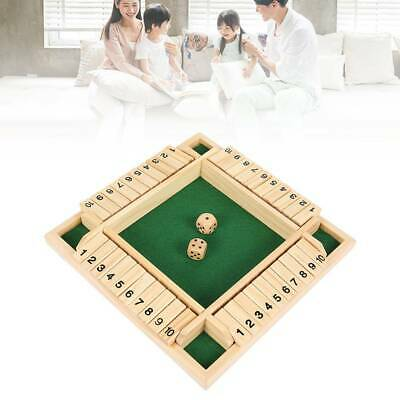 Family Game 4 Players Shut The Box Wooden Traditional Pub Dice  Kids Children UK • 9.99£