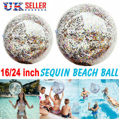 Inflatable Glitter Beach Ball Confetti Swim Pool Water Adults Kids Play Games UK • 3.99£