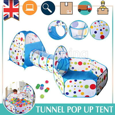 3 IN 1 Kids Tunnel Tents Pool Pop Child Baby Tent Balls Fairy Playhouse Indoor  • 19.99£