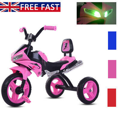 New Baby Kids Trike Lights Music 3-Wheel Pedal Bike Toddlers Motorcycle Tricycle • 34.90£