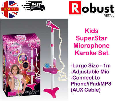 RR Kids Karaoke Machine Microphone Set Adjustable Stand Music Play Set Light Up • 13.99£