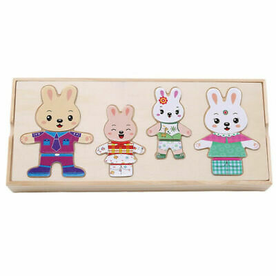 Wooden Rabbit Puzzles Montessori Educational Dress Changing Jigsaw Toys For Kids • 9.19£