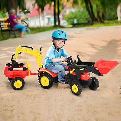 Pedal Powered Tractor Ride-On Car W/ Moving Bucket Steering Wheel Wheels 3-6 Yrs • 78.99£