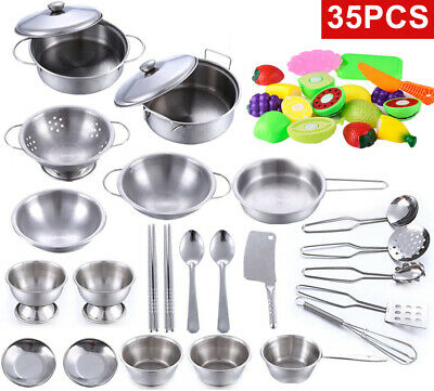 35pcs Kid Child Kitchen Utensil Accessories Cooking Role Play Toy Cookware Set • 18.99£
