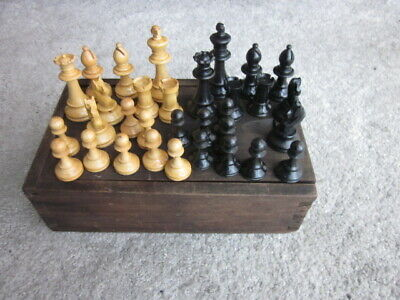 Antique Old Wooden Staunton Style Chess Set & Handmade Box • 13.50£