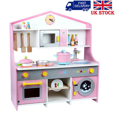 Pink Kids Wooden Play Kitchen For Girls Role Pretend Play Cooking Set -XMAS Gift • 49.99£