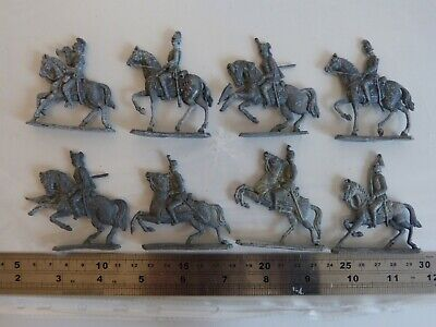 8 ANTIQUE LEAD SOLDIER MILITARY MOUNTED CAVALRY TOY FIGURES 54mm SEMI FLATS • 48£