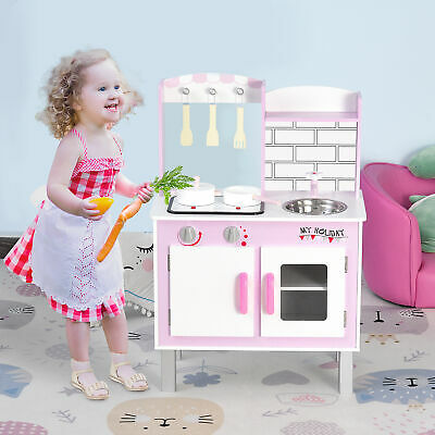 Kids Kitchen Play Set W/ Sounds Utensils Pans Storage Child Role Play 3 Yrs+ • 52.99£