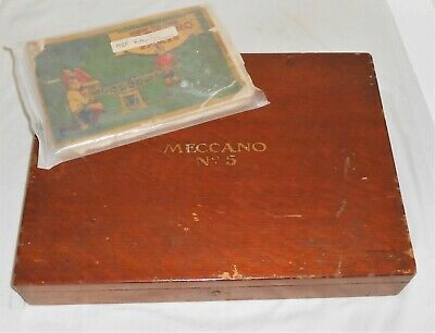 Meccano Original Wooden Lift Lid  Outfit Set 5 With Dark Red & Green Contents • 49.99£