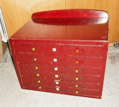 MECCANO 1950's ORIGINAL DK. MAROON FINISHED 6 DRAWER DEALERS CABINET WITH HEADER • 99.99£