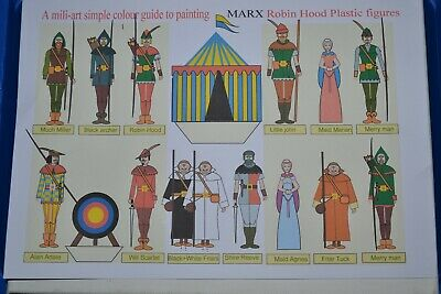 Marx Robin Hood  60mm Unpainted Plastic Figures With Paint Guide • 30£