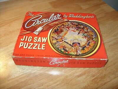 Vintage 1950s WADDINGTONS CIRCULAR JIGSAW PUZZLE #517 THE CIRCUS COMES TO TOWN   • 7.50£