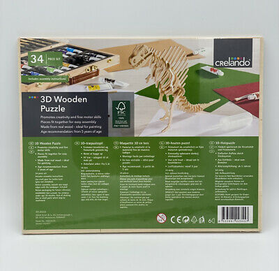 New And Sealed-Crelando 3d Wooden Dinosaur Puzzle-34 Piece Set • 8.99£
