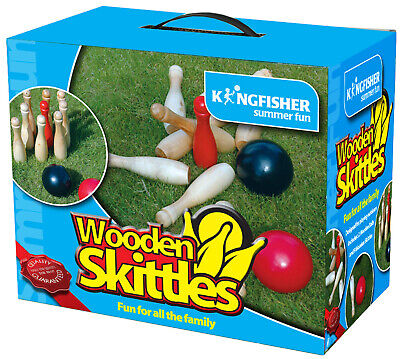 Wooden Skittles Pin Bowling Green Lawn Garden Bbq Party Camping Adult Games • 16.95£