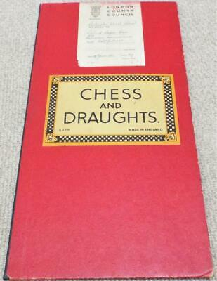 Chess And Draughts Vintage 1951 Game Board London County Council • 19.99£
