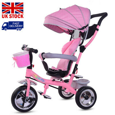 4 In1 Baby Kids Trike Girls Boys Push Along Tricycle Toddlers 3-Wheel Pedal Bike • 54.99£