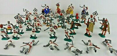 Timpo Figures Medieval Knights ,Crusaders ,Romans, Helm , Mounted LARGE LOT!!! • 150£